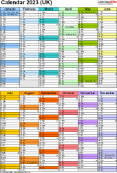 Template 10: Yearly calendar 2023 as PDF template, two half-year blocks on one A4 page