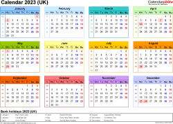 Template 8: Yearly calendar 2023 as PDF template, landscape orientation, year at a glance in colour, 1 page