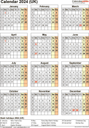 Download Template 18: Yearly calendar 2024 for Microsoft Word, portrait orientation, one A4 page