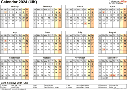 Download Template 9: Yearly calendar 2024 for Microsoft Excel, year at a glance, 1 page