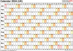 Download Template 6: Yearly calendar 2024 for Microsoft Excel, landscape orientation, 1 page, linear (days horizontally, months vertically), with UK bank holidays and week numbers