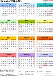 Download Template 17: Yearly calendar 2024 for Microsoft Excel, portrait orientation, year at a glance in colour, one A4 page