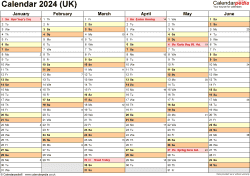 Download Template 3: Yearly calendar 2024 for Microsoft Word, landscape orientation, 2 pages, months horizontally, days vertically, with UK bank holidays and week numbers
