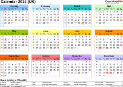 Download Template 8: Yearly calendar 2024 for Microsoft Word, landscape orientation, year at a glance in colour, 1 page