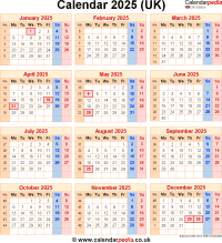 Download calendar 2025 (UK edition) as PNG file