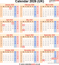 Download calendar 2026 (UK edition) as PNG file