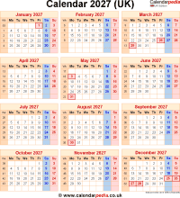 Download calendar 2027 (UK edition) as PNG file