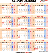 Download calendar 2028 (UK edition) as PNG file