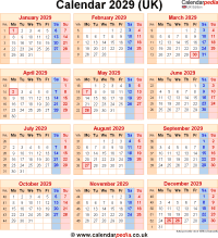 Download calendar 2029 (UK edition) as PNG file