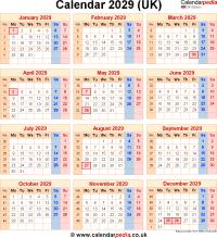 Download calendar 2029 (UK edition) as PNG file