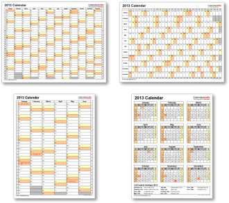 Calendar templates 2013 for Excel, PDF & Word