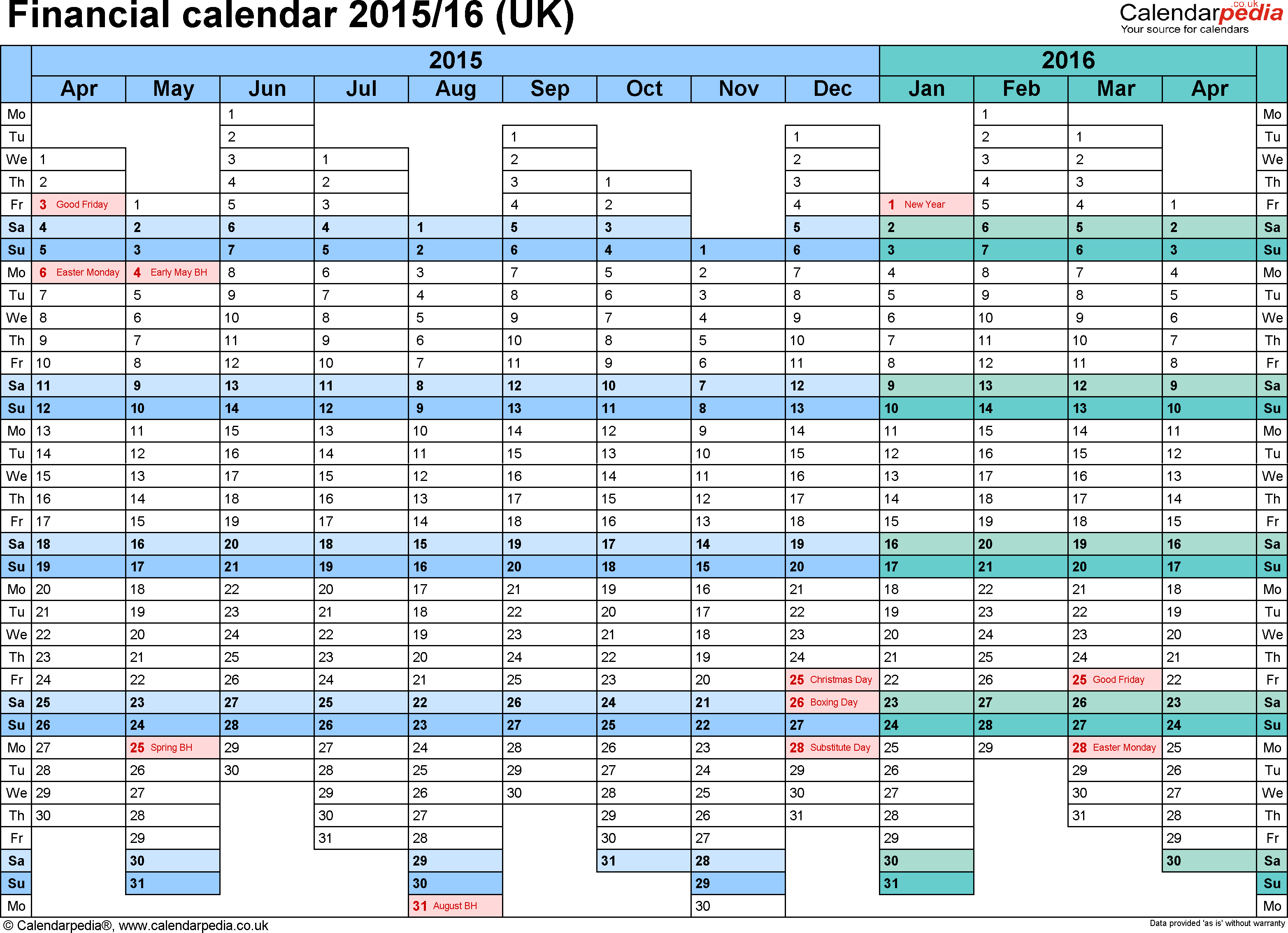 Template 1: PDF template for financial calendar 2015/2016, landscape orientation, 1 page, A4, days aligned