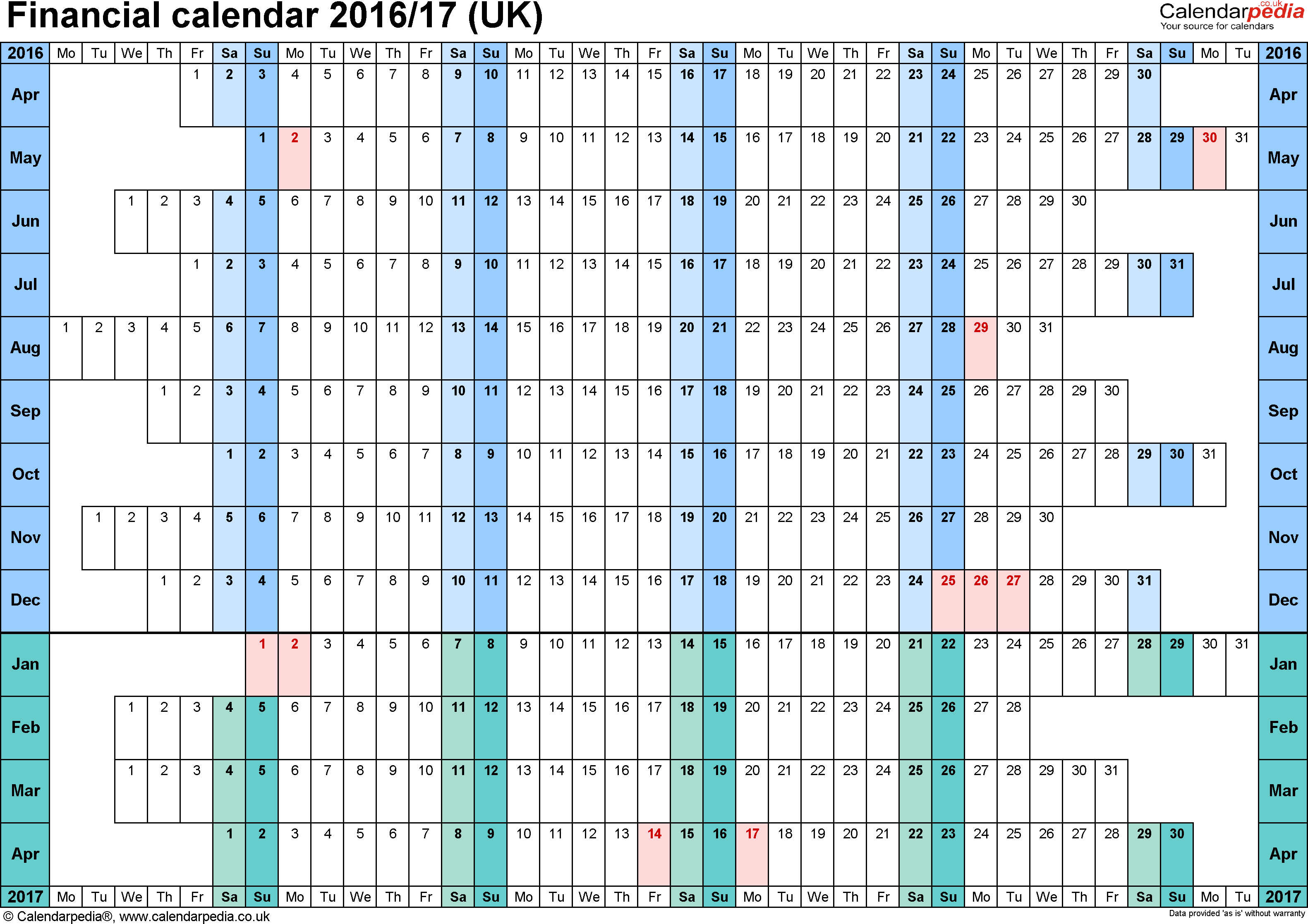 Template 3: Excel template for financial calendar 2016/2017 (landscape orientation, linear, days aligned, 1 page, A4)