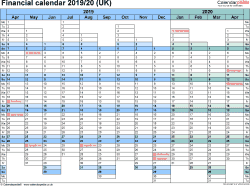 Template 1: Excel template for financial calendar 2019/2020, landscape orientation, 1 page, A4, days aligned