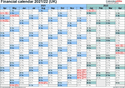 Template 2: Excel template for financial calendar 2021/2022 (landscape orientation, 1 page, A4)