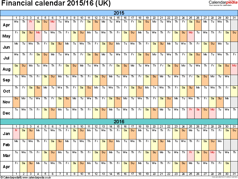 Financial Calendars 201516 Uk In Microsoft Excel Format