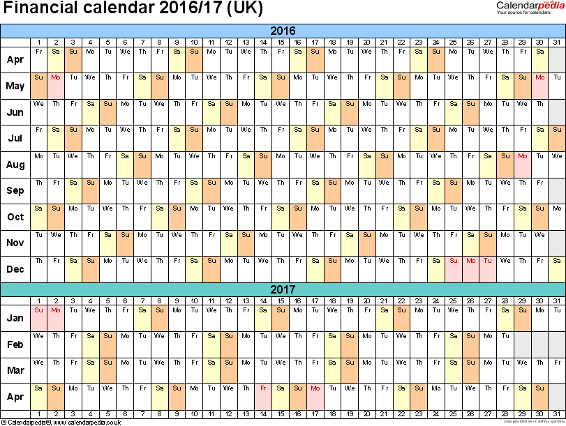 Template 4: Excel template for financial calendar 2016/2017 (landscape orientation, 1 page, A4)