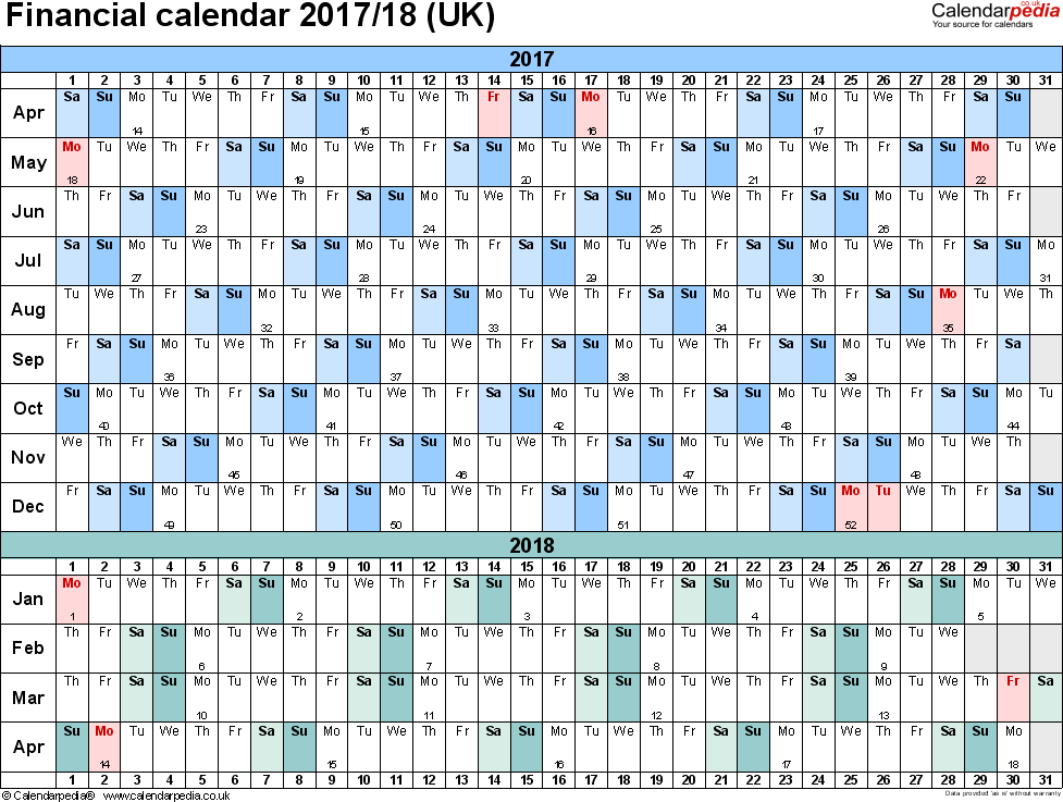 Template 4: PDF template for financial calendar 2017/2018 (landscape orientation, 1 page, A4)