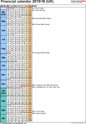 Template 6: Excel template for financial calendar 2015/2016 (portrait orientation, 1 page, A4)