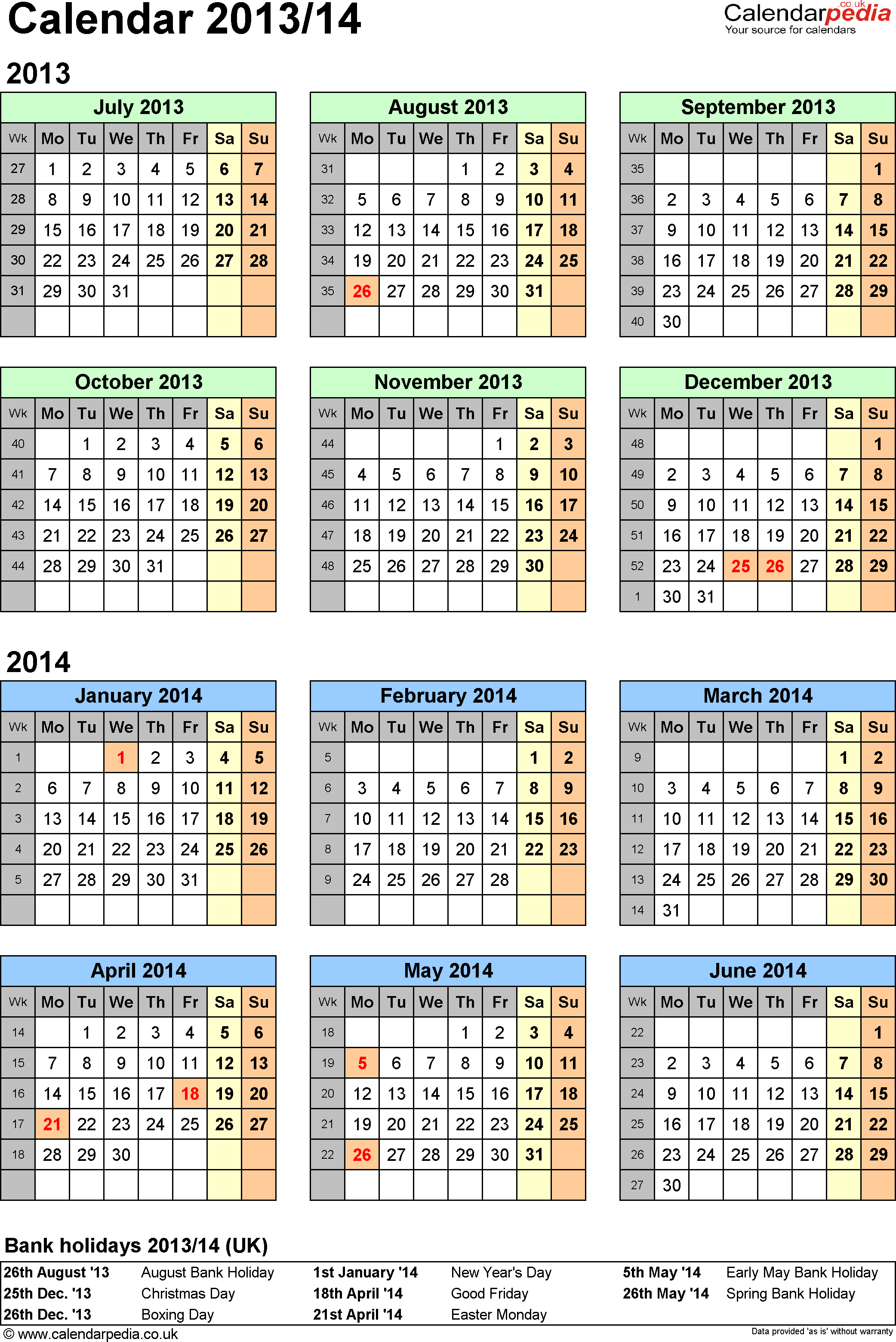 Template 2: Excel template for half year calendar 2013/2014 (portrait orientation, 1 page, A4)