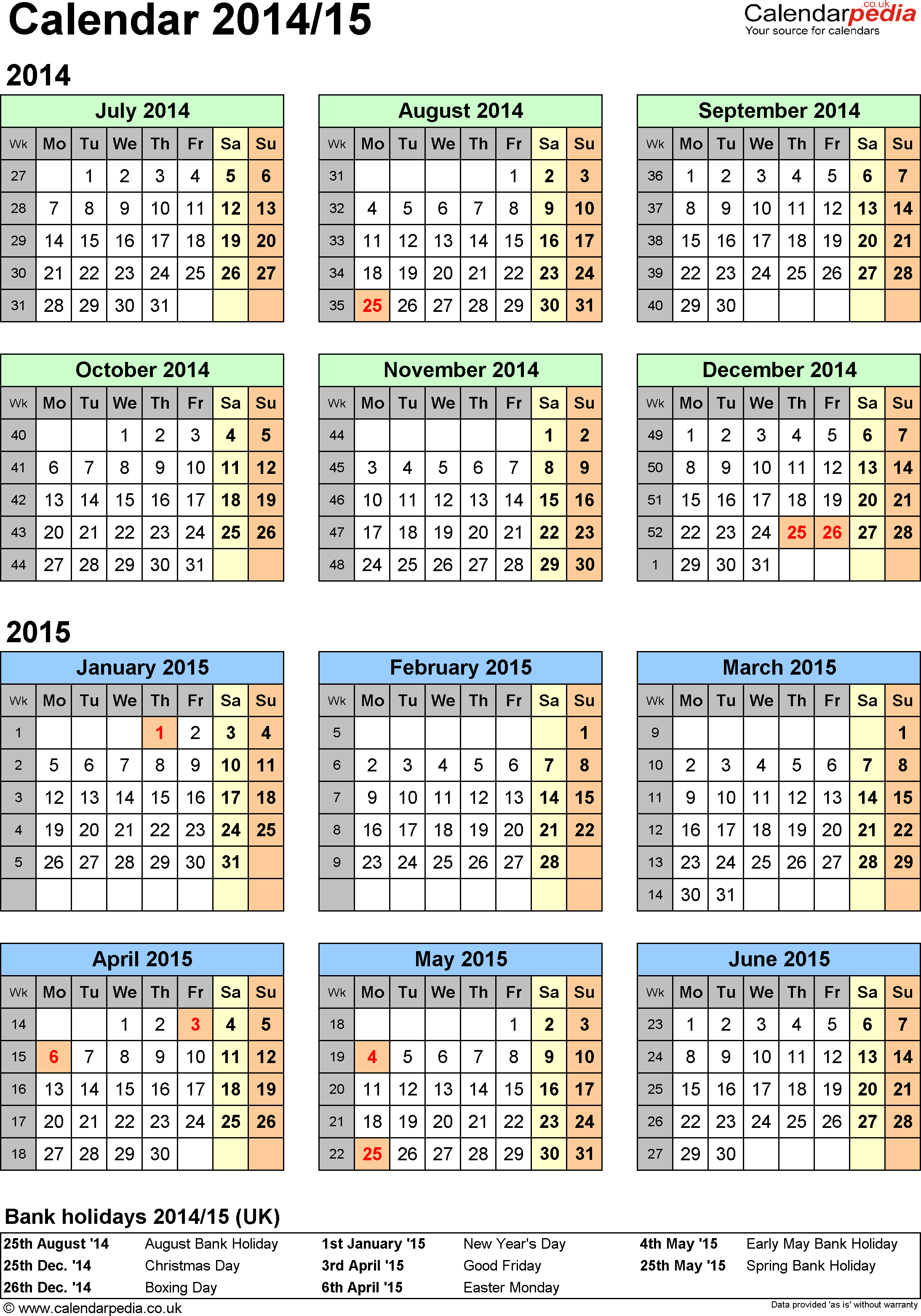Template 2: Excel template for half year calendar 2014/2015 (portrait orientation, 1 page, A4)