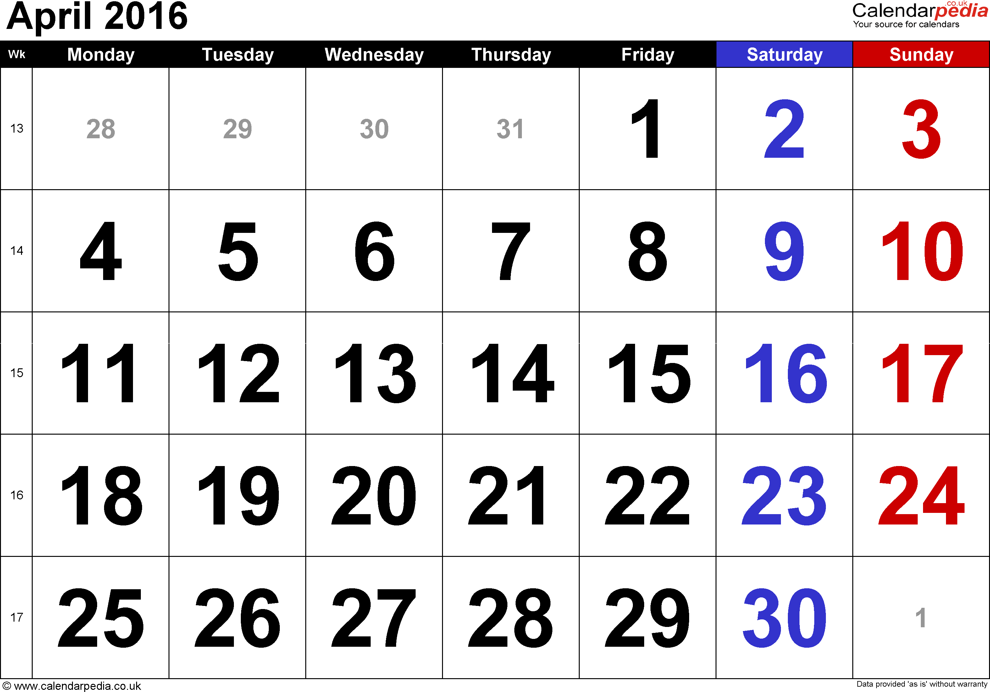 Calendar April 2016, landscape orientation, large numerals, 1 page, with UK bank holidays and week numbers