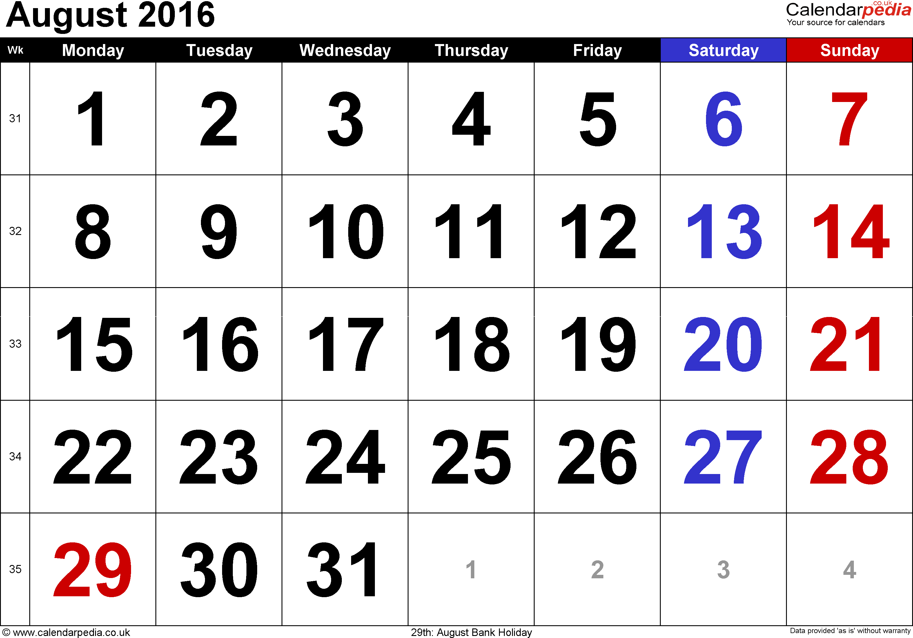Calendar August 2016, landscape orientation, large numerals, 1 page, with UK bank holidays and week numbers