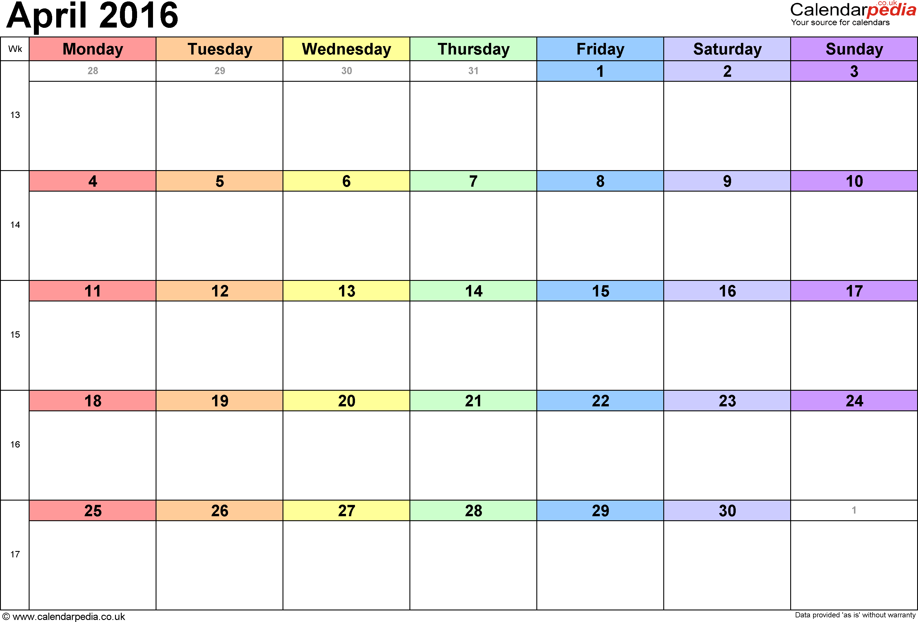Calendar April 2016, landscape orientation, 1 page, with UK bank holidays and week numbers