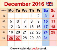 Calendar December 2016 as a graphic/image file in PNG format
