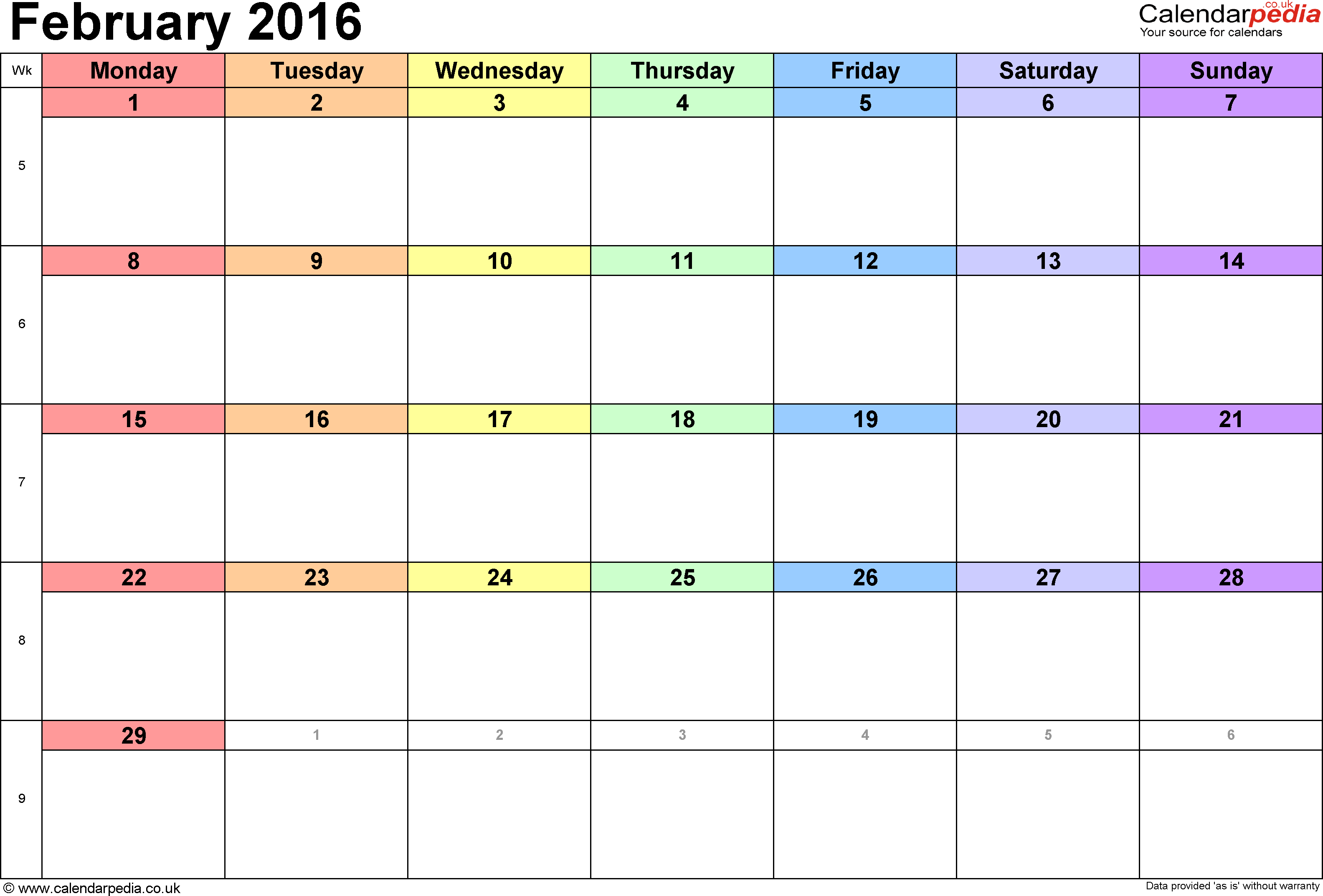 Calendar February 2016, landscape orientation, 1 page, with UK bank holidays and week numbers