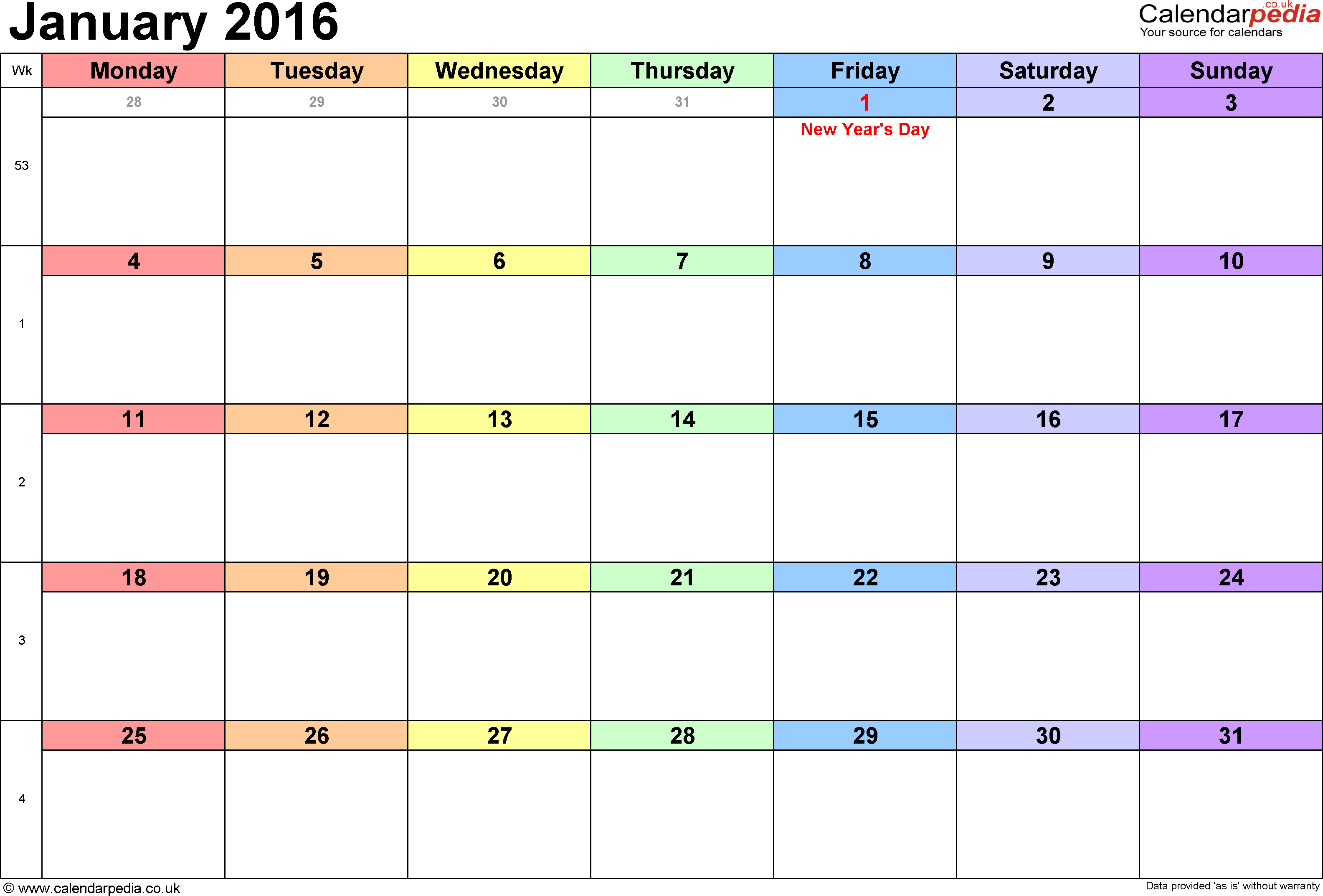 Calendar January 2016, landscape orientation, 1 page, with UK bank holidays and week numbers