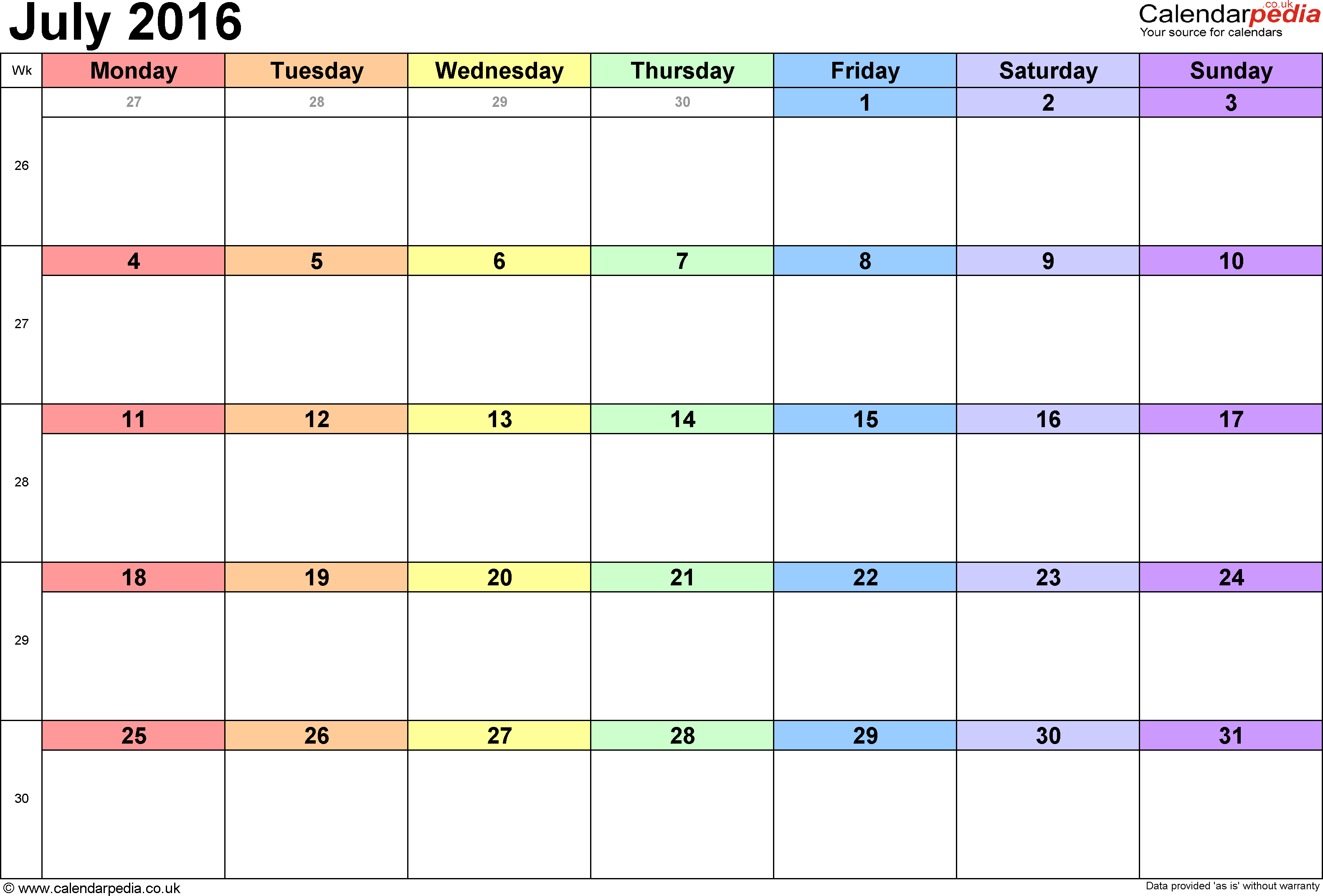 Calendar July 2016, landscape orientation, 1 page, with UK bank holidays and week numbers
