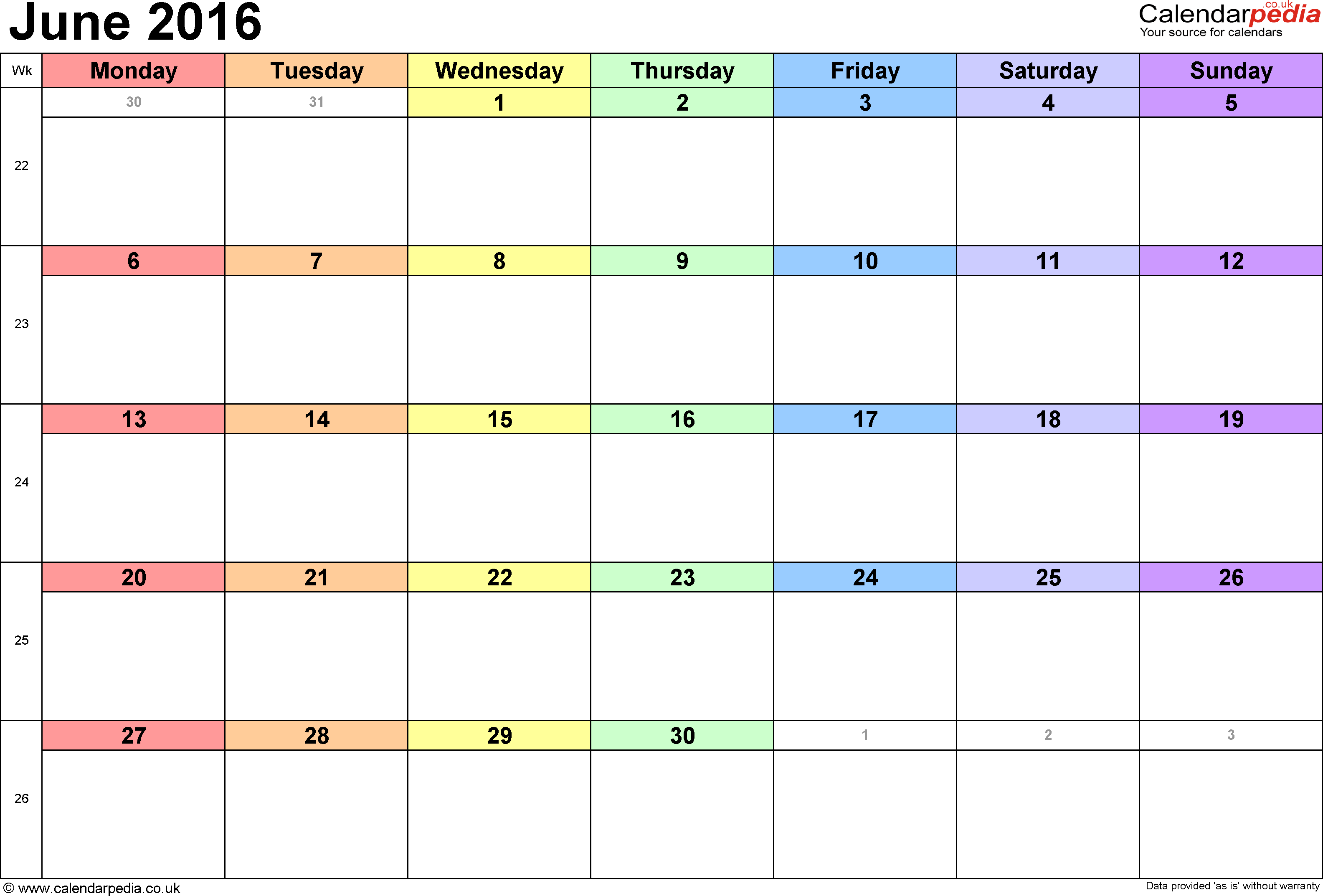 Calendar June 2016, landscape orientation, 1 page, with UK bank holidays and week numbers