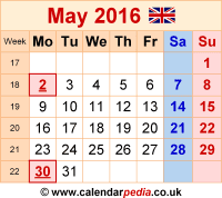 Calendar May 2016 as a graphic/image file in PNG format