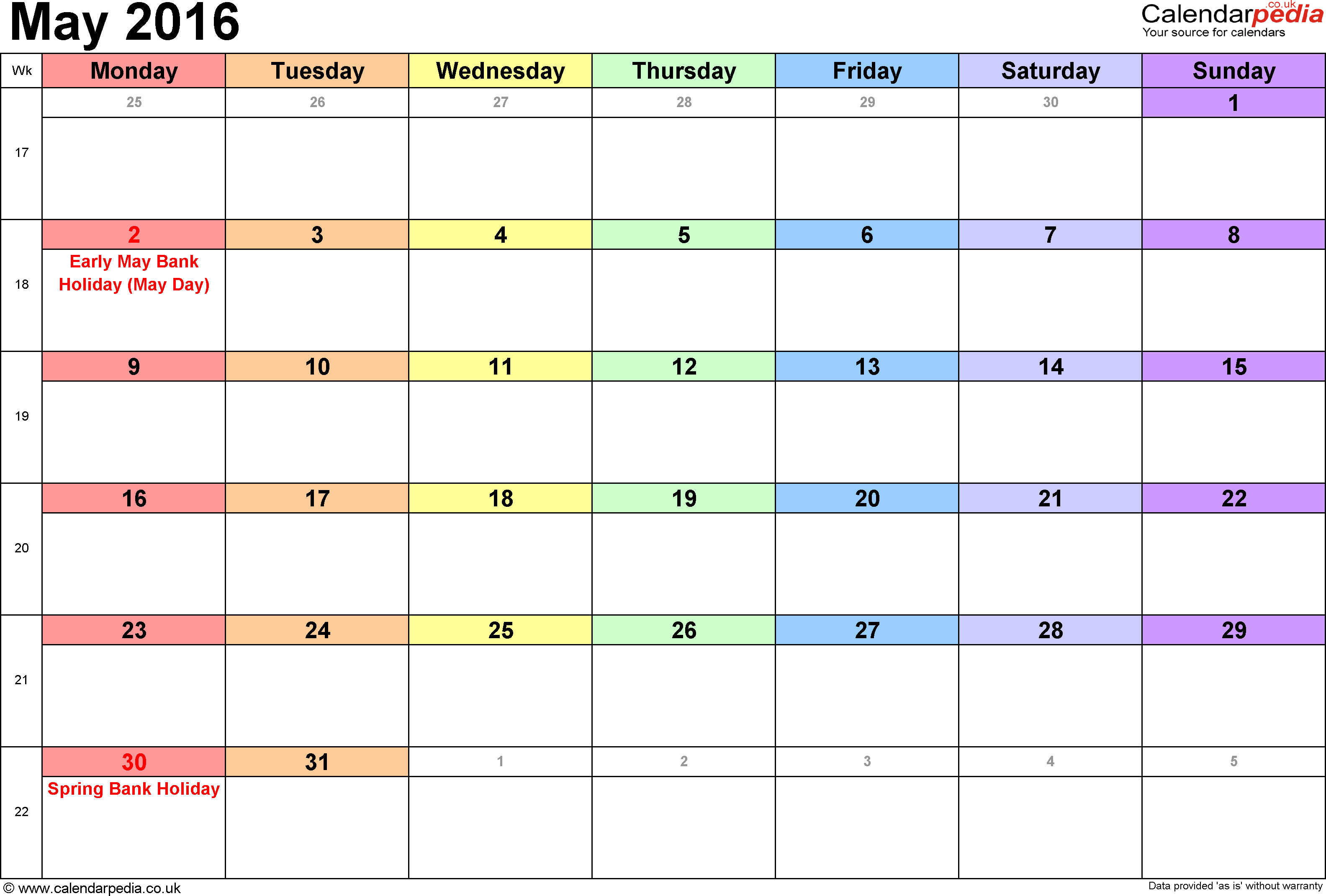Calendar May 2016, landscape orientation, 1 page, with UK bank holidays and week numbers