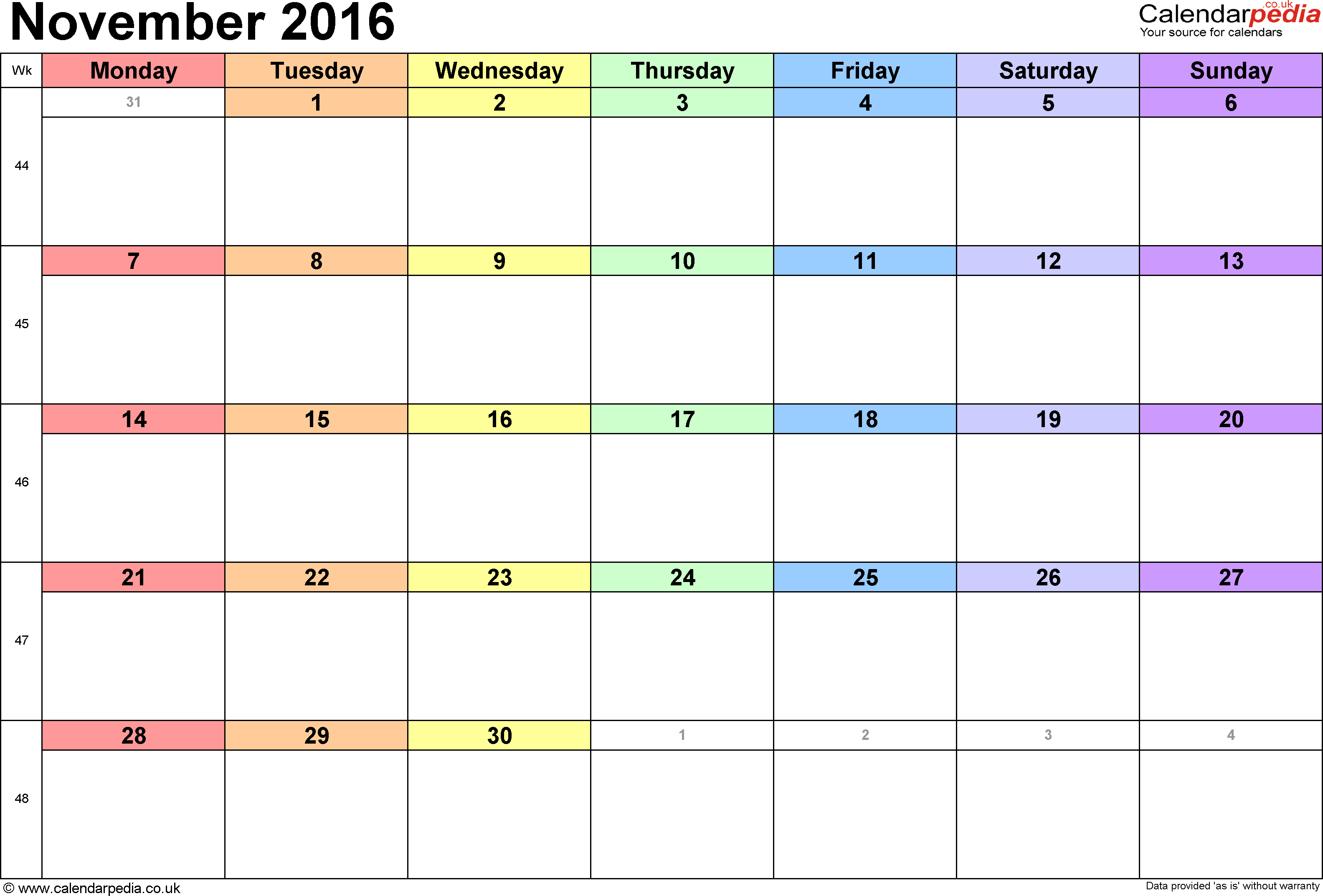 Calendar November 2016, landscape orientation, 1 page, with UK bank holidays and week numbers