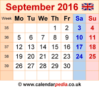 Calendar September 2016 as a graphic/image file in PNG format