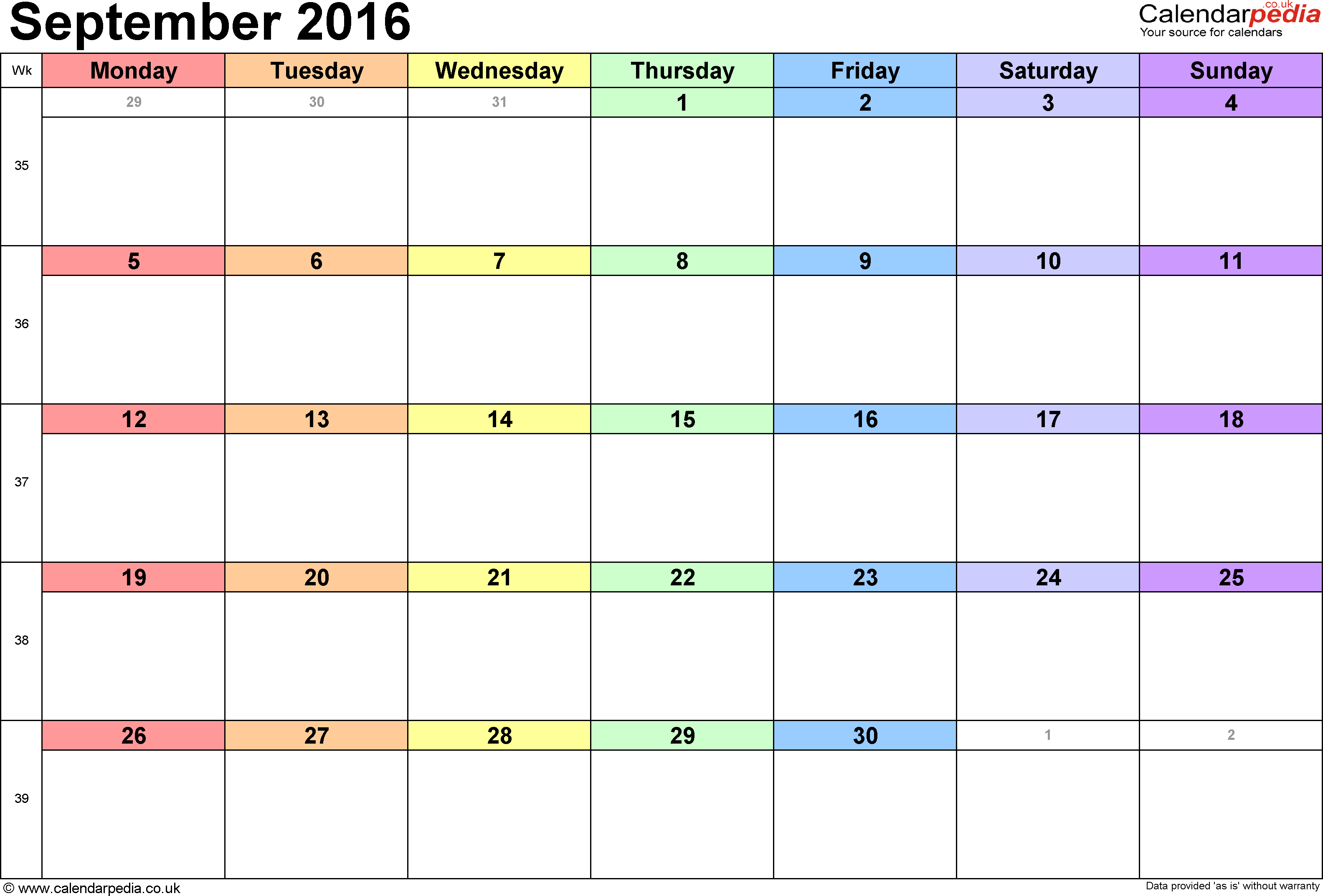 Calendar September 2016, landscape orientation, 1 page, with UK bank holidays and week numbers