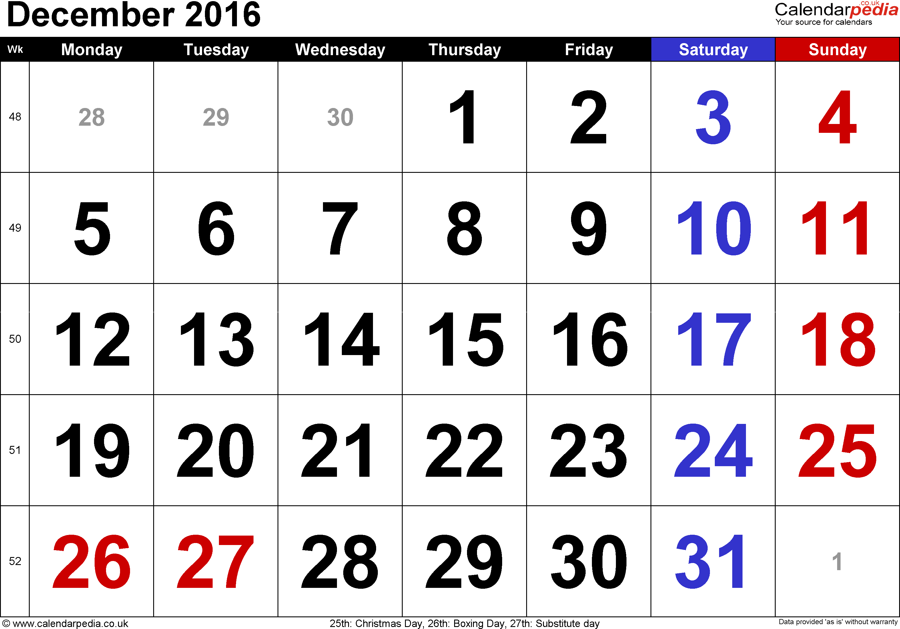 Calendar December 2016, landscape orientation, large numerals, 1 page, with UK bank holidays and week numbers