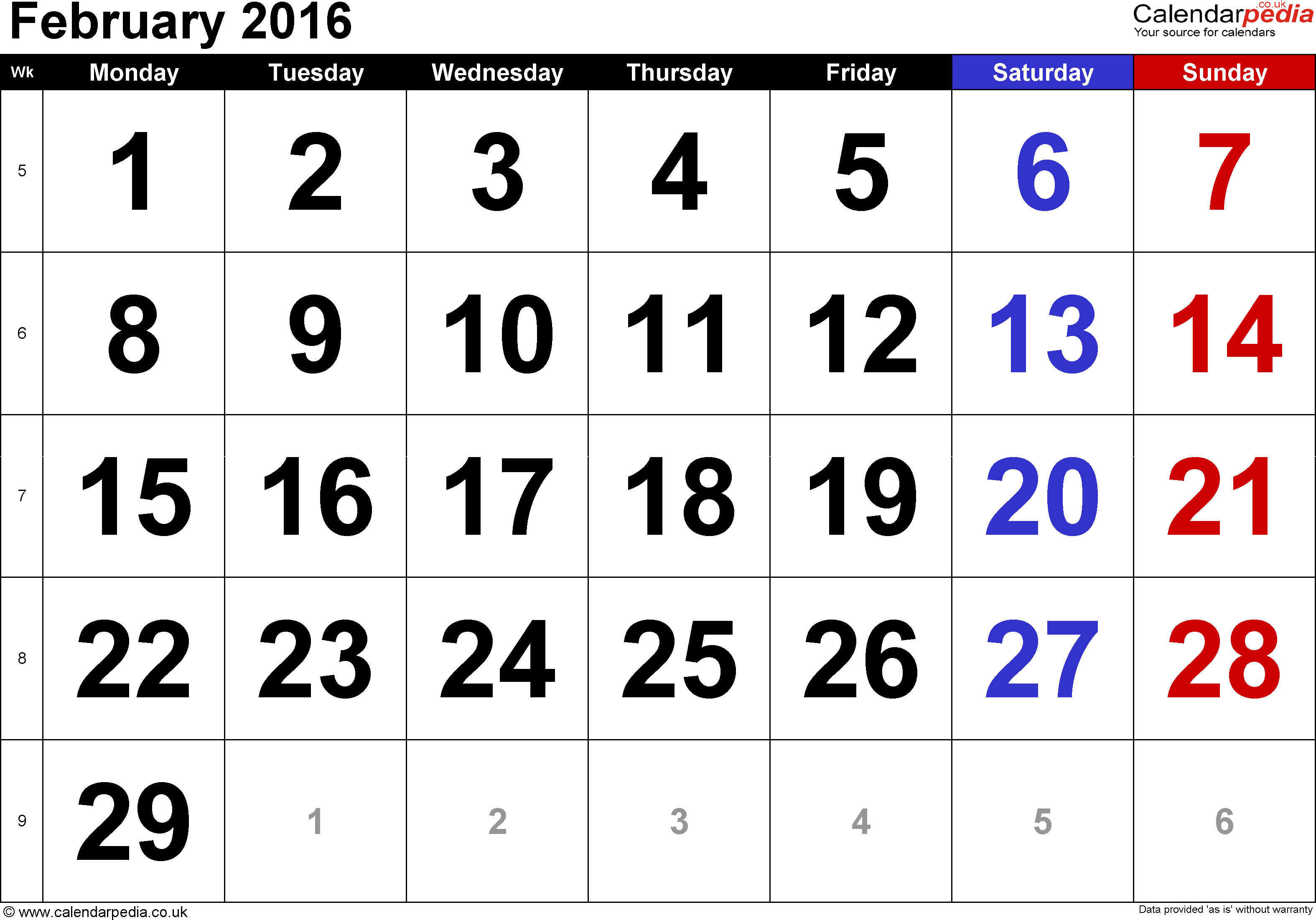 Calendar February 2016, landscape orientation, large numerals, 1 page, with UK bank holidays and week numbers