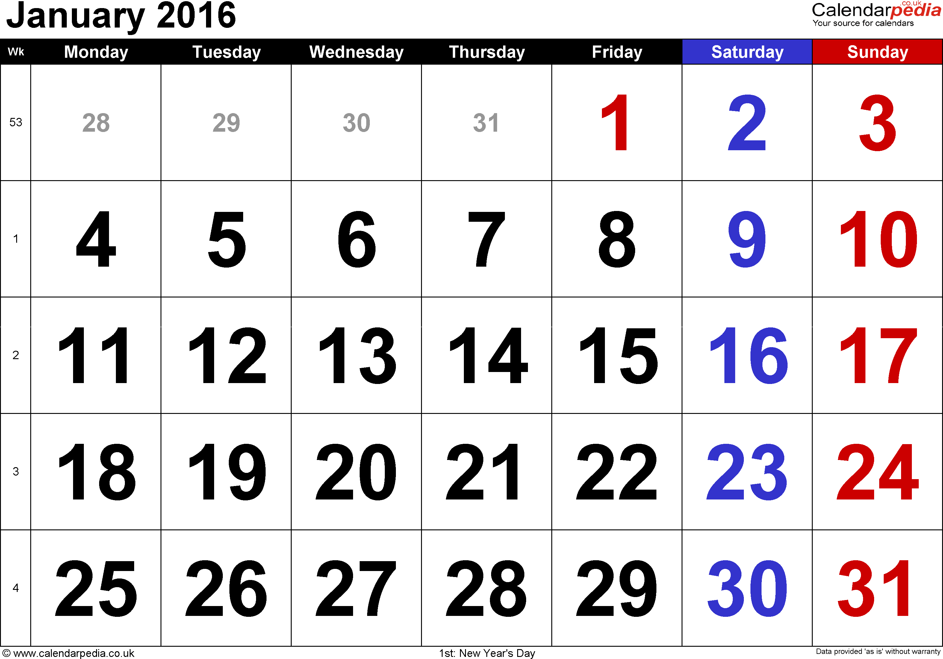 Calendar January 2016, landscape orientation, large numerals, 1 page, with UK bank holidays and week numbers