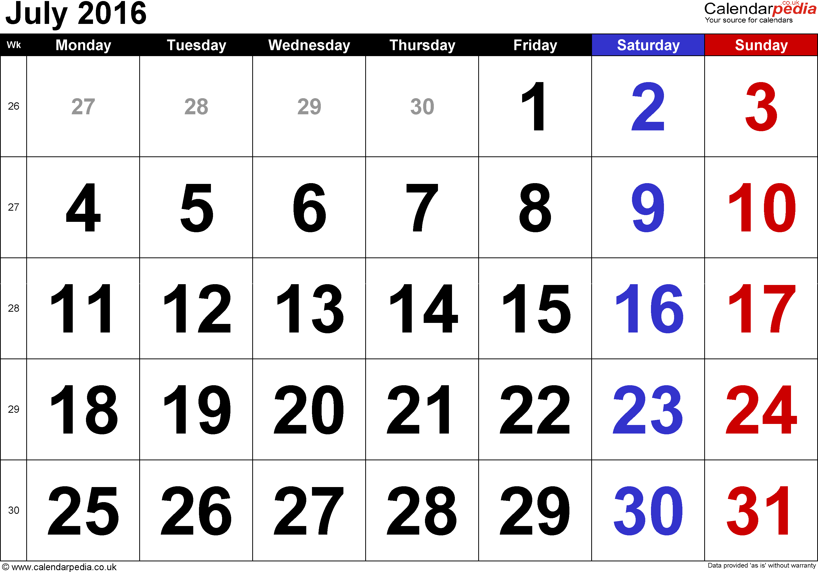 Calendar July 2016, landscape orientation, large numerals, 1 page, with UK bank holidays and week numbers