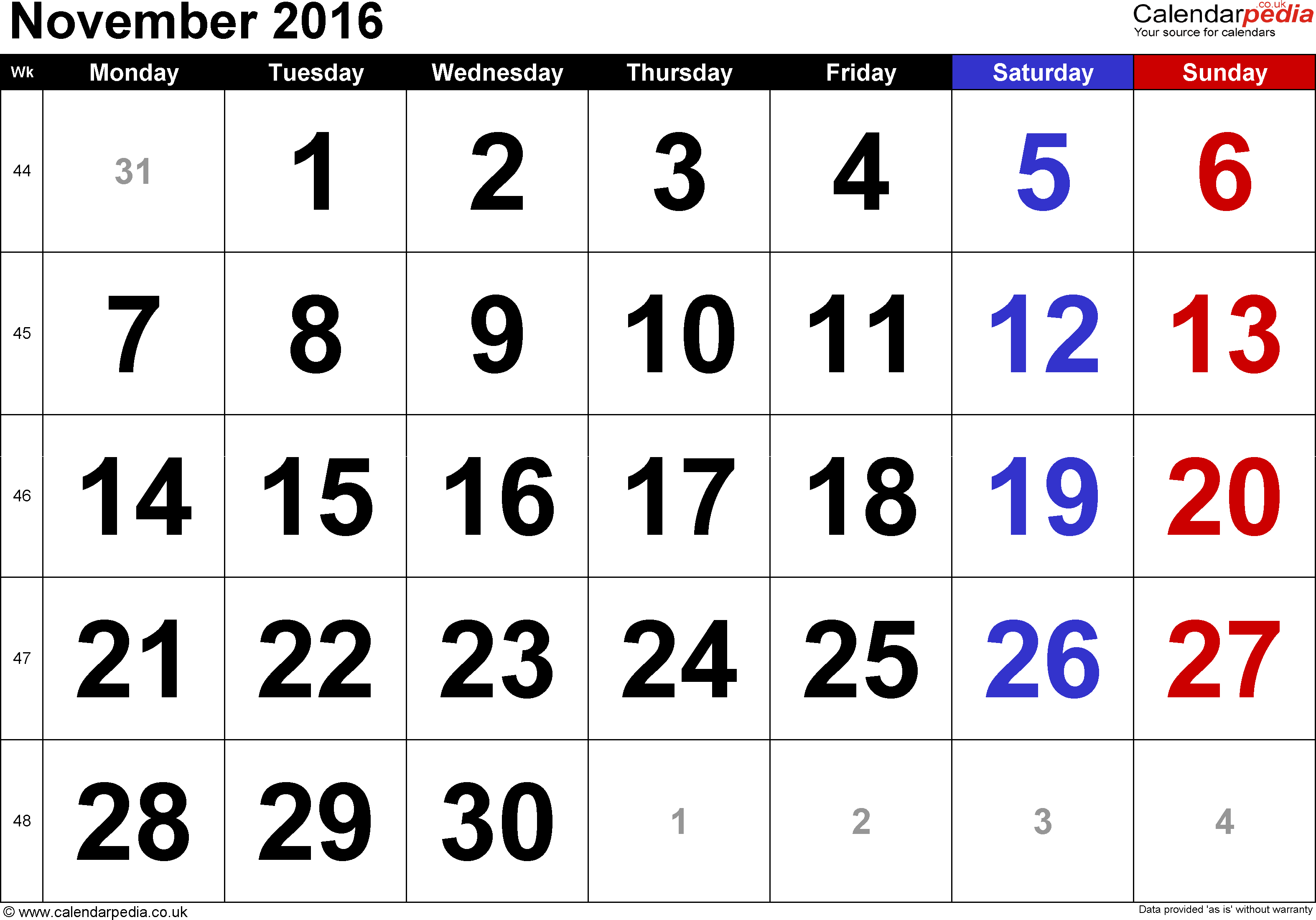 Calendar November 2016, landscape orientation, large numerals, 1 page, with UK bank holidays and week numbers