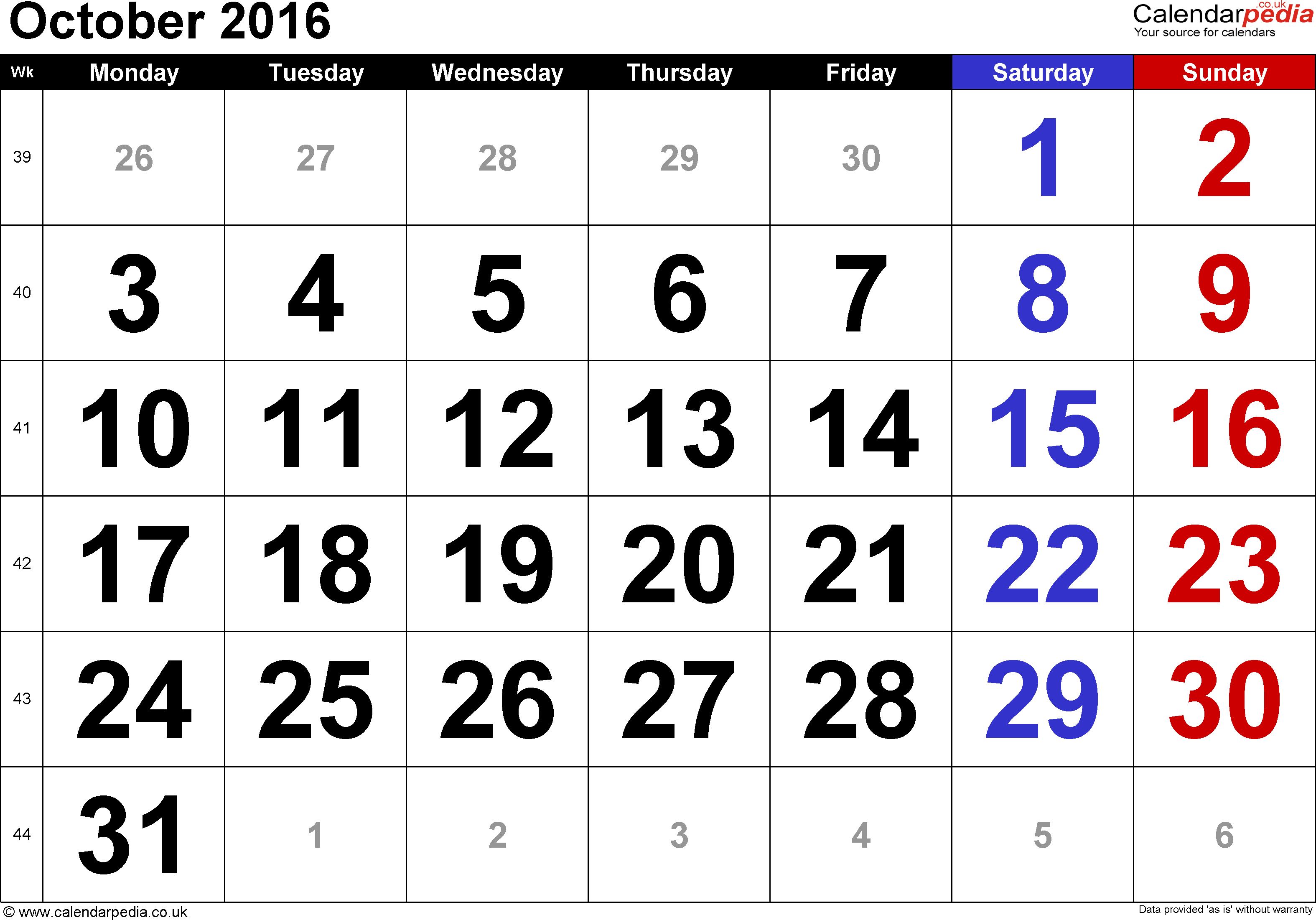 Calendar October 2016, landscape orientation, large numerals, 1 page, with UK bank holidays and week numbers