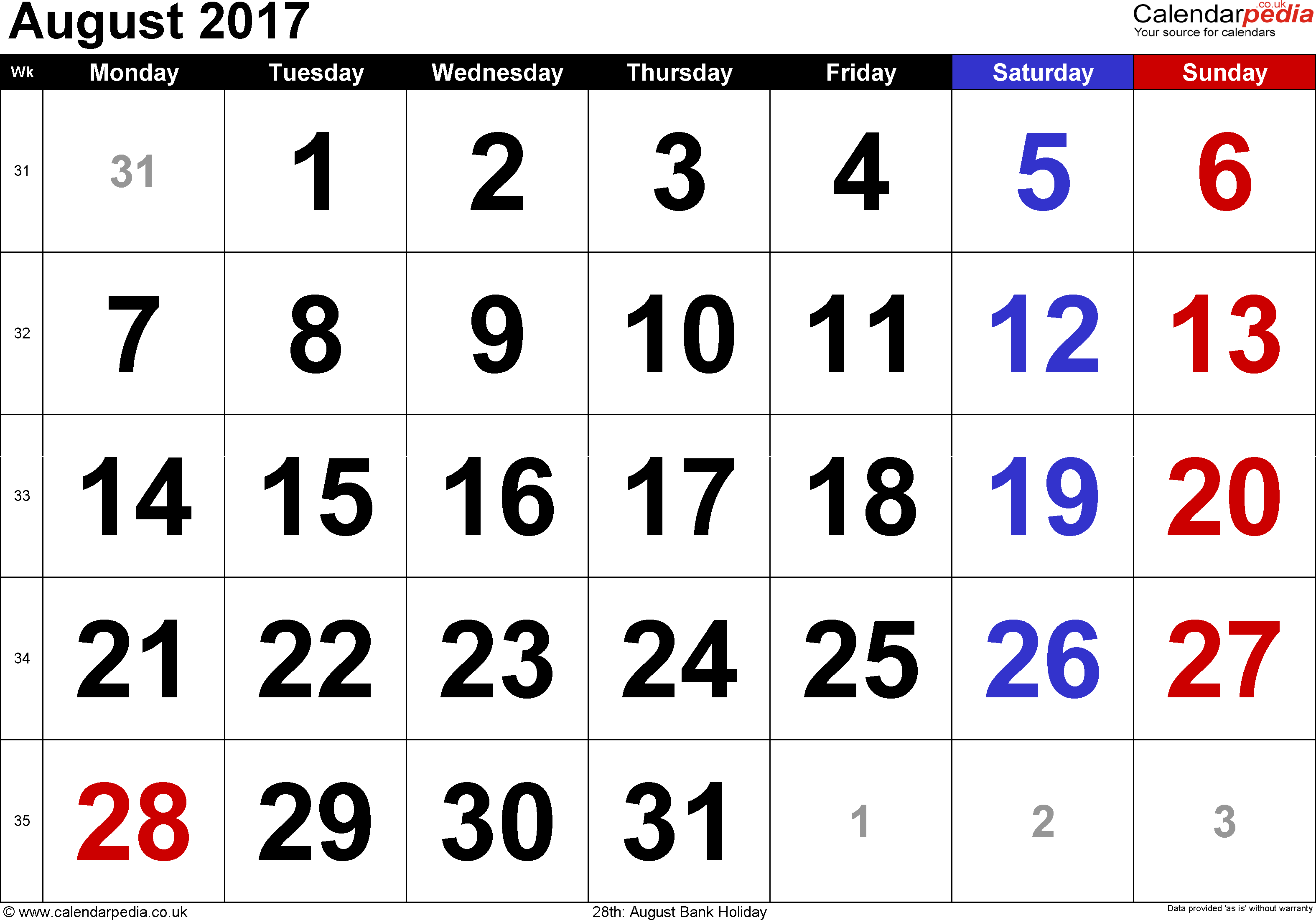 Calendar August 2017, landscape orientation, large numerals, 1 page, with UK bank holidays and week numbers