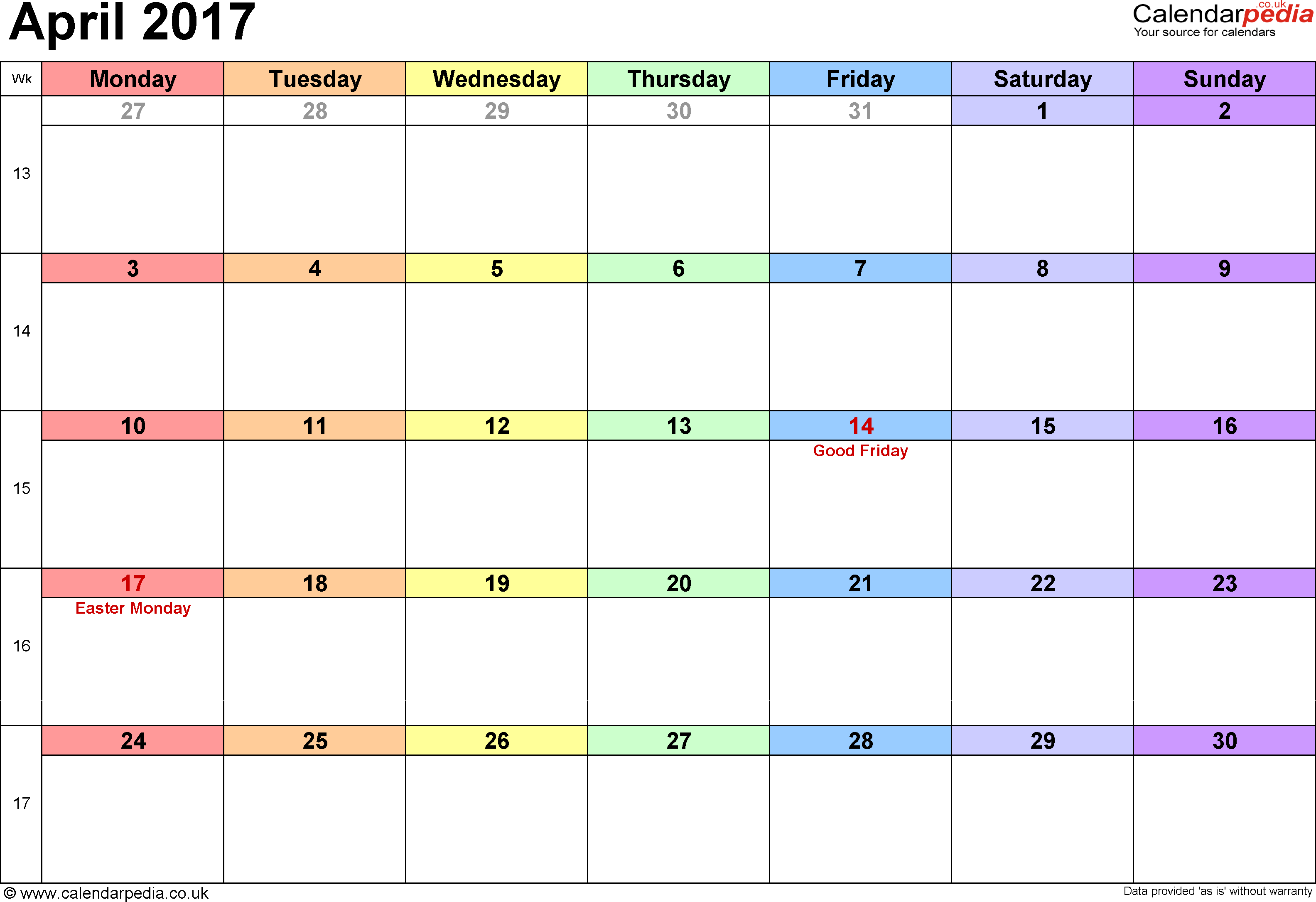 Calendar April 2017, landscape orientation, 1 page, with UK bank holidays and week numbers