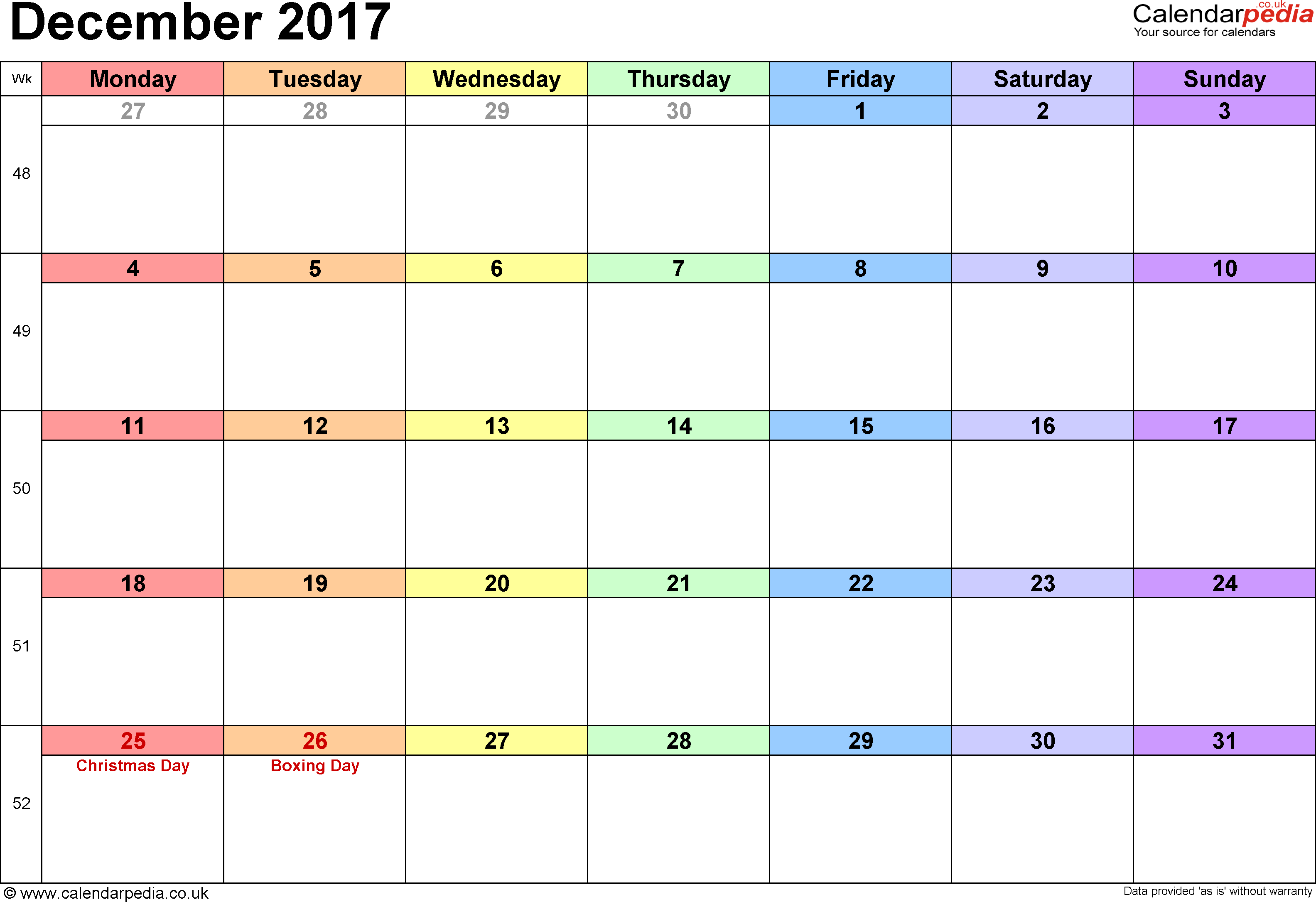 Calendar December 2017, landscape orientation, 1 page, with UK bank holidays and week numbers