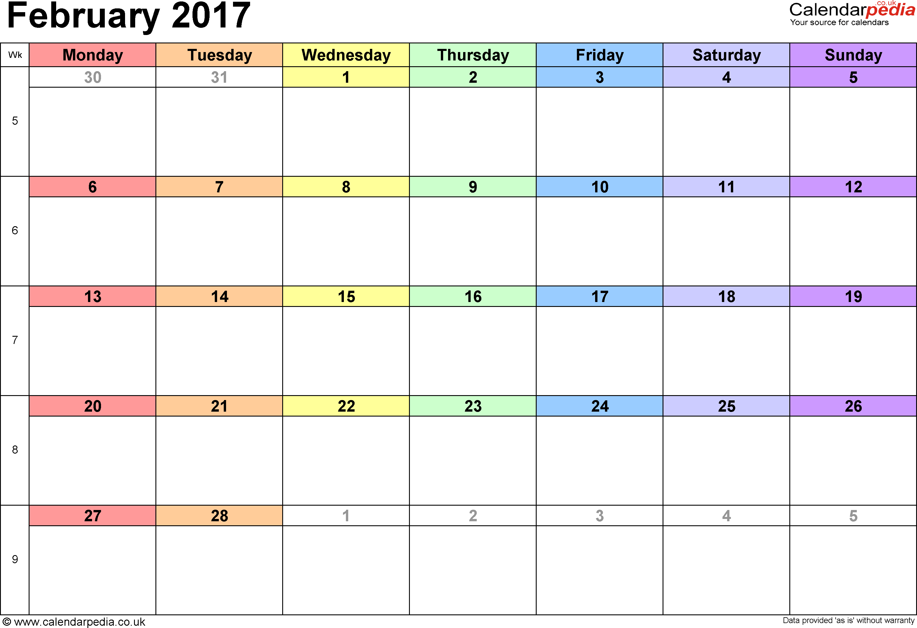 Calendar February 2017, landscape orientation, 1 page, with UK bank holidays and week numbers