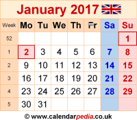 Calendar January 2017 as a graphic/image file in PNG format