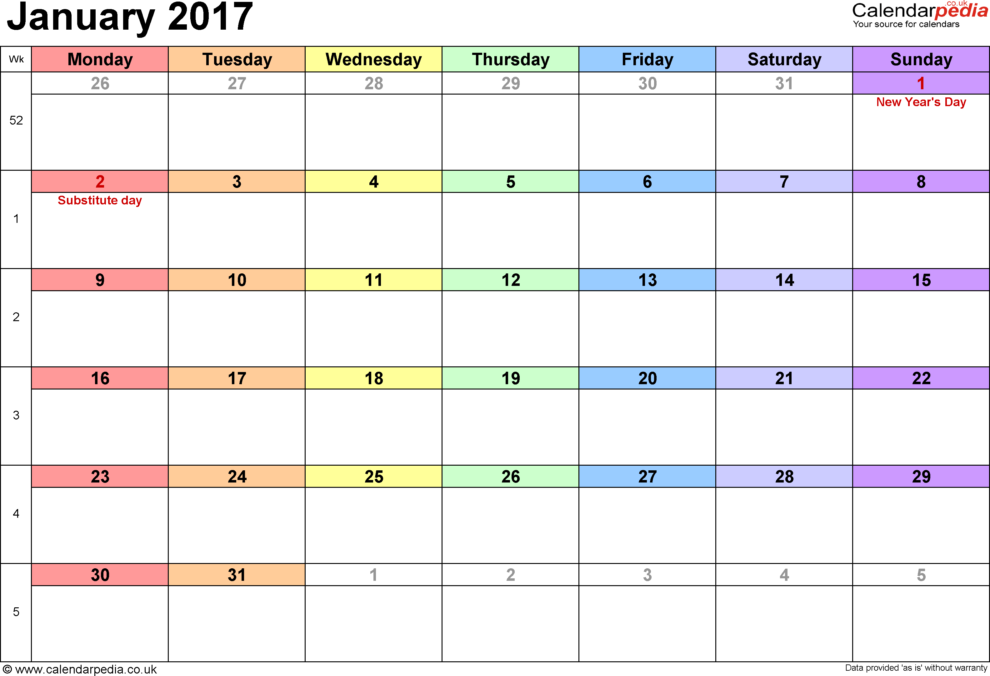 Calendar January 2017, landscape orientation, 1 page, with UK bank holidays and week numbers
